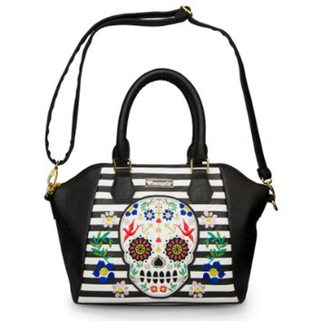 Sugar Skull Stripes With Flowers Crossbody Bag by Loungefly (Black)