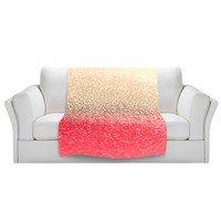 Blanket Ultra Soft Fuzzy Fleece from DiaNoche Designs Home Decor Unique, Cool, Fun, Funky, Designer, Artistic, Stylish Bedroom and Bathroom Ideas Couch or Throw blanket by Monika Strigel - Gatsby Coral Gold