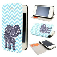 "ivencase D66 Elephant Painting Art Design PU leather Flip Cover Case for Apple iphone 4 4S + One ""ivencase "" Anti-dust Plug Stopper"