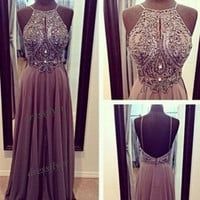 Spaghetti Straps Long Beads Prom Dress, Custom Straps Long Chiffon Prom Dress / Graduation Dress / Homecoming Dress 2014 / Evening Dress