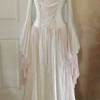 New color! Gwendolyn Medieval Velvet and Lace Wedding Gown Cream and Pink