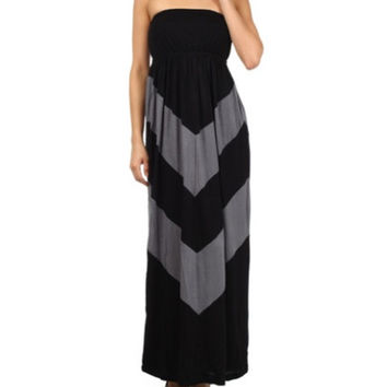 In Style Black/Grey Halter Maxi Dress