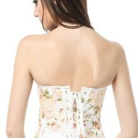 Ivy Shi Women's Boned lace up back Yellow Printing Corset Top