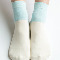Women New Must Have Hezwagarcia Ivory Pastel Pink Color Block Cotton Candy Ice Cream Ankle Socks