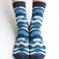 Women New Must Have Hezwagarcia Super Cutest Blue Camouflage Pattern Cotton Ankle Socks