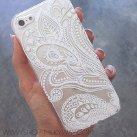Plastic Case Cover For Iphone 5 5s Henna White Floral Paisley