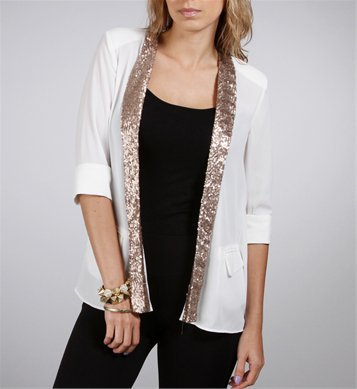 White Slit Back Blazer