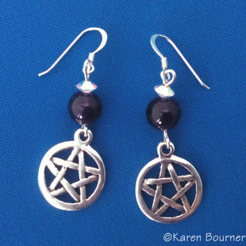 Amethyst Pentacle Pentagram Pagan Wiccan Earrings