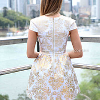 GOLD FOIL 2.0 DRESS , DRESSES, TOPS, BOTTOMS, JACKETS & JUMPERS, ACCESSORIES, 50% OFF , PRE ORDER, NEW ARRIVALS, PLAYSUIT, COLOUR, GIFT VOUCHER,,White,Print,Gold Australia, Queensland, Brisbane