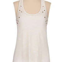 Flower crochet trim tank with metallic studs