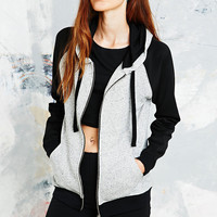 Sparkle & Fade Contrast Sleeve Hoodie in Grey and Black - Urban Outfitters