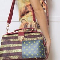 American Flag Print Small Handbag by ohmyfrock - Chictopia