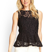 LOVE 21 Sheer Floral Net Peplum Top Black Medium