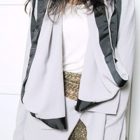 Silver Grey Asymmetric Hem Finishing Blazer by ohmyfrock - Chictopia