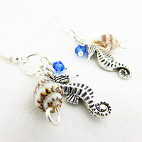Shell and Sea Horse Earrings, Beach Earrings, Sea Shell and Sea Horse Dangle Earrings