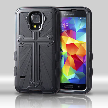 Metallic Cross Hybrid Protector Case for Galaxy S5 - Black/Black