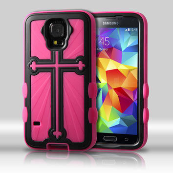 Metallic Cross Hybrid Protector Case for Galaxy S5 - Black/Hot Pink