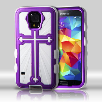 Metallic Cross Hybrid Protector Case for Galaxy S5 - Grape/White