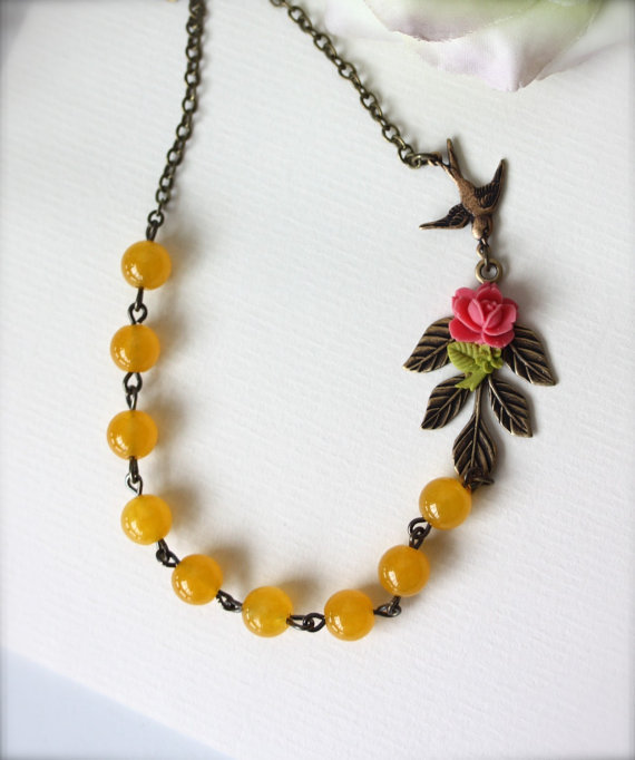 A Babys Dream Garden A Flying Swallow Branch Necklace by Marolsha