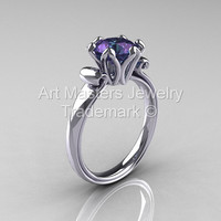 Modern Antique 14K White Gold 1.25 Carat Chrysoberyl Alexandrite Solitaire Engagement Ring AR127-14KWGAL