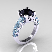 Modern Vintage 14K White Gold 3.0 Carat Black Diamond Aquamarine Designer Wedding Ring R142-14KWGAQBD