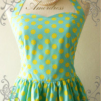 Amor Vintage Inspired Blue Yellow Polka Dot Dress by Amordress