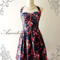 Amor Vintage Inspired Gorgeous Dark Blue and Pink by Amordress