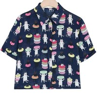 Cat Print Button Down Shirts - OASAP.com