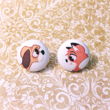 Handmade Fox and the Hound Tod and Copper Fabric Button Earring Set