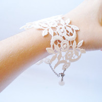 Lace Bracelet Women Accessories Ivory Bridesmaids by bytugce