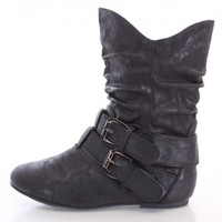 Black Buckled Ankle Booties Faux Leather
