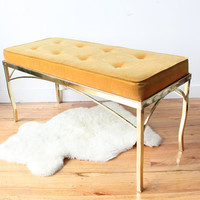 Hollywood Regency Gold Bench Seat
