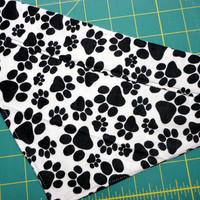 Dog Pet Bandana Over the Collar Black Paws on White Handmade Flannel Small Medium Cotton