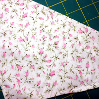 Pet Dog Over the Collar Bandana Pink Flowers on White Cotton Small to Medium Handmade Double Layer