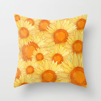 Sunflowers Throw Pillow by Sara Eshak