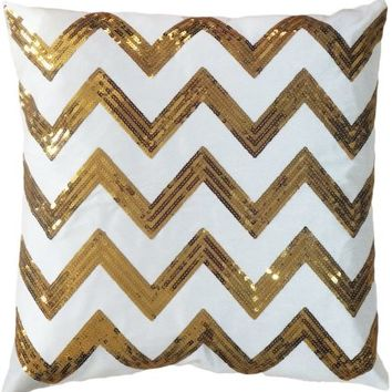 Decorative Sequins Zig-Zag Pattern Throw Pillow COVER 18 Gold