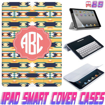 USA Customize Aztec tribal Monogram On IPad Air, IPad Mini, IPad 4/3/2 Smart Cover PU Leather Magnetic Sleep Wake Case #89