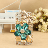 iPhone 4S 4G 3GS iPod Touch Blue Flower Crystal Golden Bow Clear Case