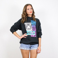 Vintage Black Sweatshirt 80s Sweatshirt Tiger Print Cat Print Sweater Jumper Neon New Wave Screen Print Novelty Print Busch Gardens Top M L