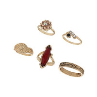 Burgundy Stone Ring Pack - Burgundy