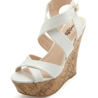 CRISSCROSSING PLATFORM WEDGE SANDALS
