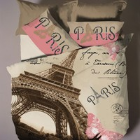 Deluxe Satin Cotton 3pcs Paris Single Twin Size Duvet Cover Set Eiffel Theme Bedding Linens