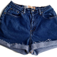 High Waisted Denim Shorts Size 3/4 Plain No Rips Jean Shorts Tumblr Hipster