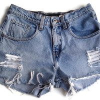 High Waisted Denim Shorts Size 5/6 Levi Jean Shorts Vintage Tumblr Hipster