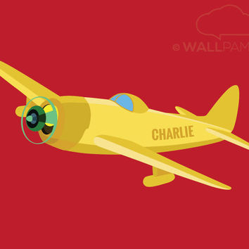 Airplane Art Print w Personalized Name, Baby Boy Wall Art, Boy Gift, Kids Decor, Plane w Name Illustration, Boys Nursery, Transportartion
