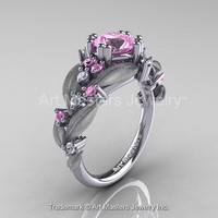 Nature Classic 14K White Gold 1.0 Ct Light Pink Sapphire Diamond Leaf and Vine Engagement Ring R340S-14KWGDLPS