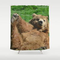 Yoga Bear Shower Curtain by RDelean