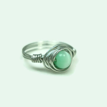 Wrapped Wire Ring, Light Green, Size 8.5