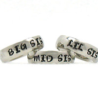 Big Sis Mid Sis and Lil Sis Ring, Stainless Ring, Stainless Steel Ring, Personalized Ring, Custom Name Ring, Hand Stamped Ring, Hand Stamped