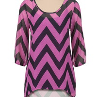 sparkling grape High-low chevron print chiffon tunic
